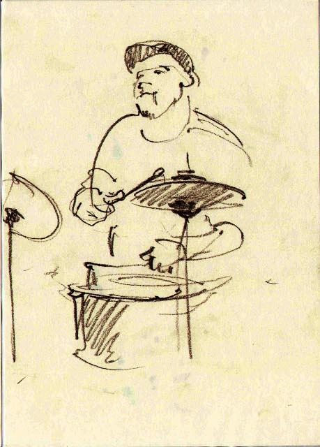Шкіц з Jazz Bez Jam Session у клубі Picasso. Автор: Юстина Могитич