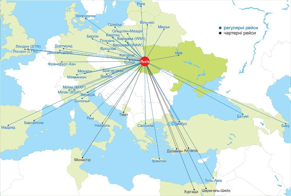 Карта маршрутів аеропорту «Львів»
