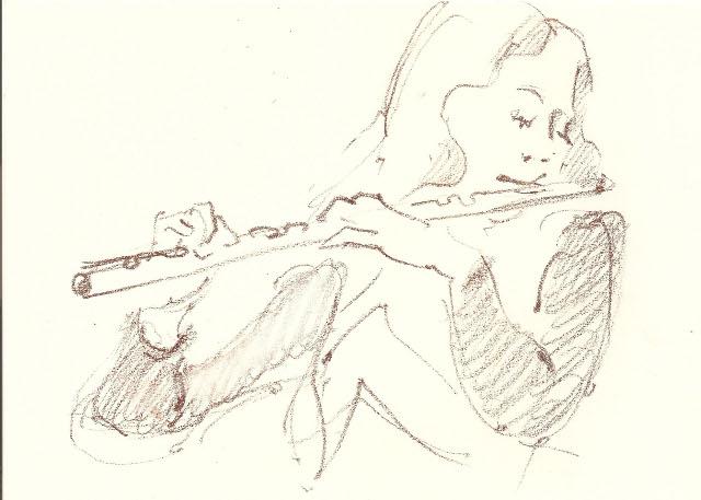 Наталія Возняк. Шкіц з концерту гурту Nameless. Автор Юстина Могитич.