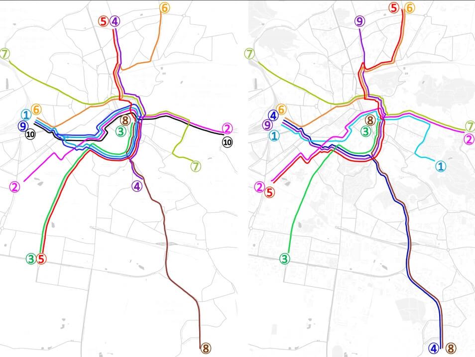 Стара і нова схема трамвайних маршрутів за 2019 рік